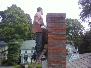 Residential chimney rebuilding job